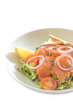 熏制鲑鱼沙拉-隔离 免版税库存图片