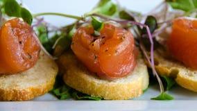 熏制鲑鱼用山羊乳干酪传播了在crostini上 免版税库存照片