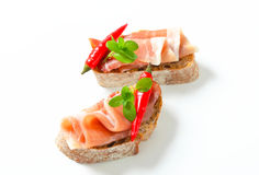 熏火腿露面的三明治 免版税库存照片