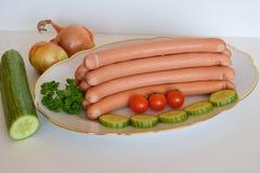 熏肉香肠香肠, Wienerwurst,食物,德国熏肉香肠香肠,熏肉香肠香肠 库存照片