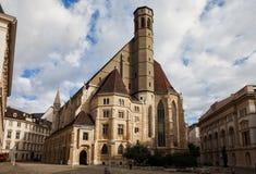 熏肉香肠Minoritenkirche在维也纳 免版税图库摄影