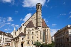熏肉香肠Minoritenkirche教会在维也纳 图库摄影