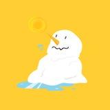 熔化在黄色背景的雪人 图库摄影