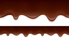 熔化巧克力滴水-水平的边界 免版税库存照片