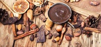 熔化的巧克力、香料和坚果 免版税图库摄影