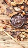 熔化的巧克力、香料和坚果 库存图片