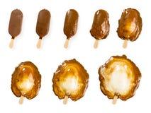 熔化的巧克力和香草冰淇淋棍子 库存图片