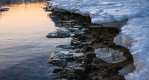 熔化的河冰海岸 免版税库存图片