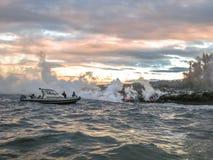 熔岩小船游览夏威夷 库存照片