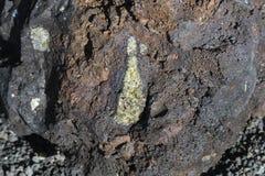 熔岩橄榄石包括,兰萨罗特岛,西班牙 免版税库存图片