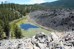 熔岩流看法在纽贝里火山的纪念碑 免版税图库摄影