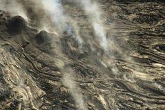 熔岩荒野空中直升机视图在Kilauea火山,大岛,夏威夷附近的 图库摄影