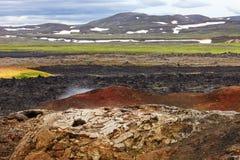 熔岩荒野Leirhnjukur火山,冰岛 图库摄影