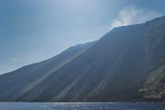 熔岩volcan倾斜的strombolis 库存图片