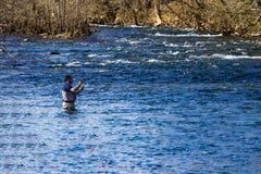 熔铸一条鳟鱼的飞行渔夫一次人为飞行在罗阿诺克河,弗吉尼亚,美国 免版税库存图片