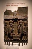 熔铸从贝宁城尼日利亚,大英博物馆的黄铜匾 图库摄影