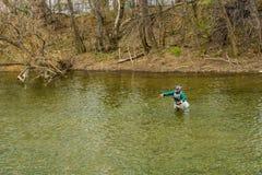熔铸鳟鱼的渔夫一次人为飞行在罗阿诺克河,弗吉尼亚,美国 库存图片
