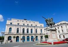 熙德雕象在布尔戈斯,西班牙 库存图片