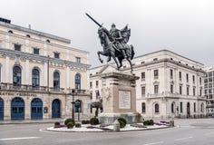 熙德雕象在布尔戈斯,西班牙 免版税图库摄影