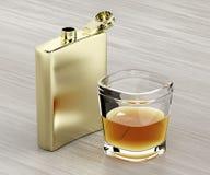 熟悉内情的烧瓶和一杯威士忌酒 向量例证