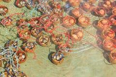 熟蛋在Mae Ched的Mae Khachan温泉 免版税库存图片