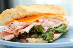 熟食店切的火鸡肉三明治 免版税图库摄影