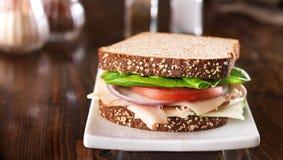 熟食店肉三明治,在宽长宽比的射击 库存照片