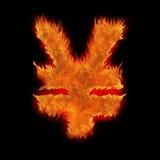 燃烧的日本符号日元 免版税图库摄影