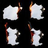 燃烧的纸 库存照片
