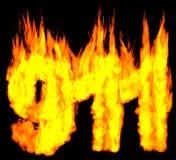 燃烧的911数字 免版税库存照片