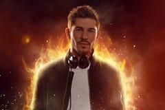 燃烧的DJ 库存照片