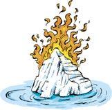 燃烧的Iceburg在水中 向量例证
