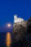 燕子的巢在月光的晚上 免版税图库摄影