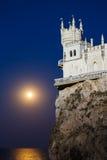 燕子的巢在月光的晚上 免版税库存图片