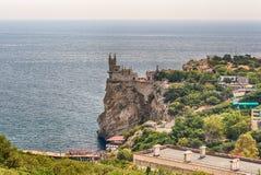 燕子的巢,在黑海,雅尔塔,克里米亚的风景城堡 图库摄影