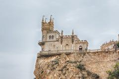 燕子的巢,在黑海,雅尔塔,克里米亚的风景城堡 免版税库存照片