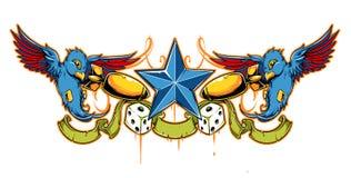 燕子纹身花刺向量 库存照片