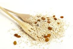 燕麦剥落用葡萄干 免版税库存照片