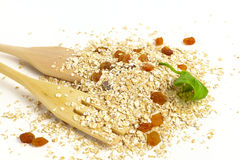 燕麦剥落用葡萄干 图库摄影