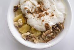 燕麦和酸奶健康breakfat  免版税库存图片