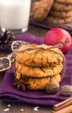 燕麦曲奇饼和假日香料 免版税图库摄影