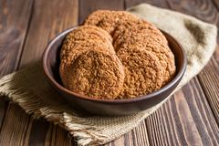燕麦曲奇饼,未加工的食物 图库摄影