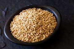 燕麦燕麦属在一个黑黏土盘的漂白亚麻纤维的五谷 库存照片