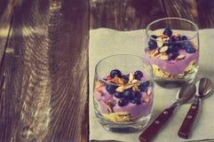 燕麦粥、香蕉、酸奶、蓝莓和杏仁点心  库存照片