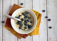 燕麦粥和蓝莓 免版税库存照片