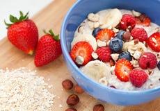 燕麦粥用新鲜水果 免版税库存图片
