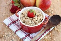 燕麦粥用苹果和草莓 库存照片