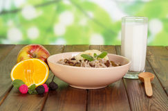 燕麦粥用葡萄干、杯子酸奶和果子在抽象绿色 库存图片