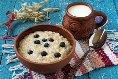 燕麦粥用蓝莓和牛奶 库存图片