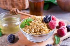 燕麦粥粥用新鲜的草莓和黑莓 健康早餐,健康吃,素食主义者食物概念 免版税图库摄影